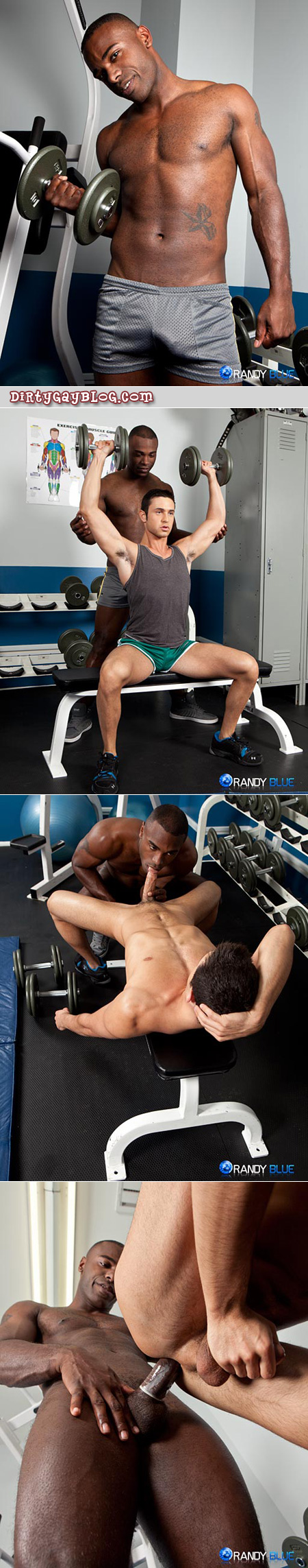 Black male personal trainer with a hard-on in his mesh shorts fucks the guys he's training in the gym after his workout.