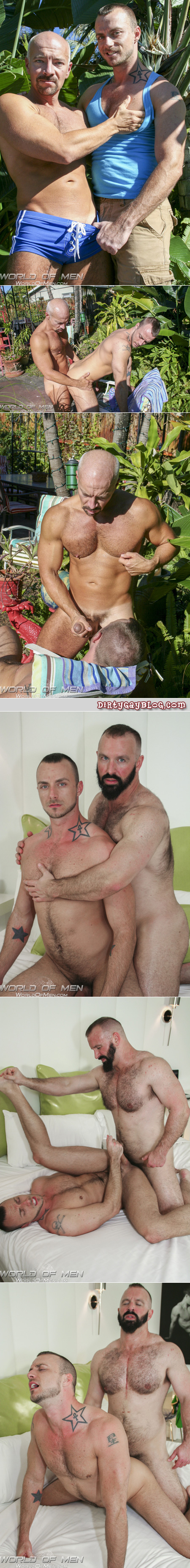 Male slut is fucked in the ass by a muscular white-haired Daddy in a squarecut swimsuit and a butch, hairy bear.