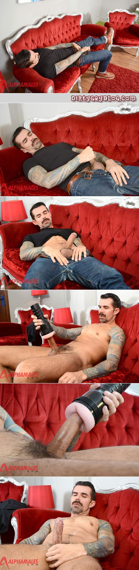 Mature man with sleeve tattoos and a thick mustache jacks his cock with a Fleshlight.