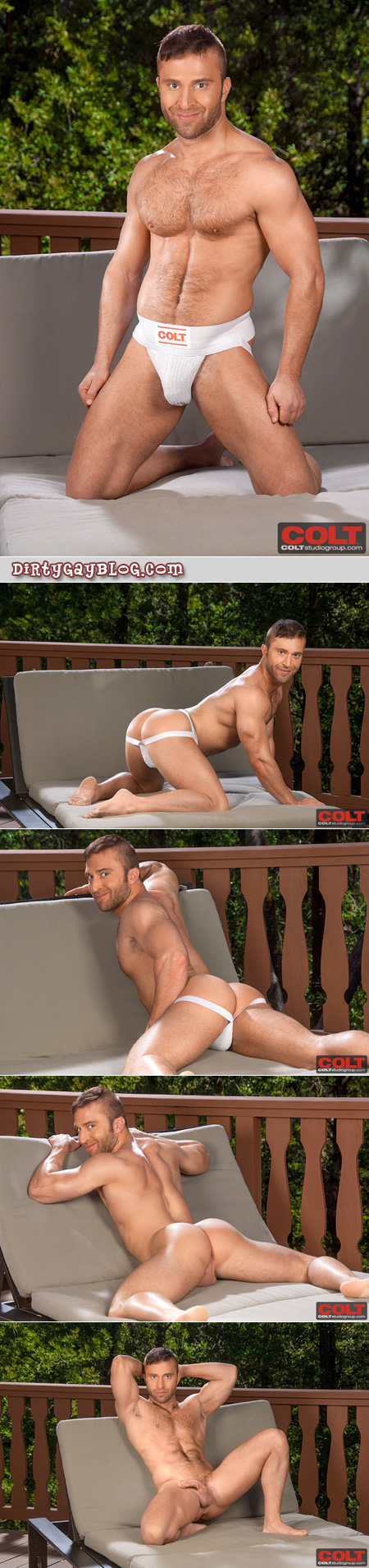 Furry, muscular bottom shows off his muscle ass in a classic white jockstrap.