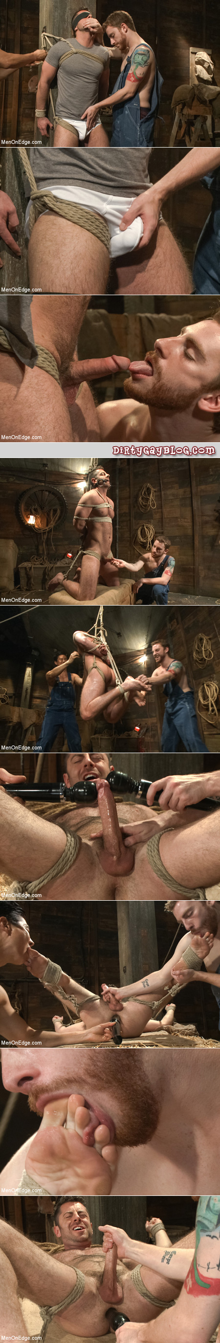 Hairy man is tied up by two male rednecks so they can explore his masculine body with their toys and tongues.