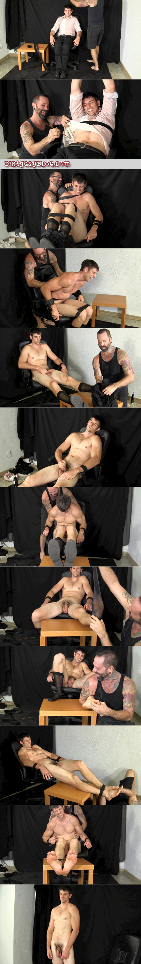 Straight man tied up by another man, then stripped to his sheer socks and tickled all over naked and being turned on by it.