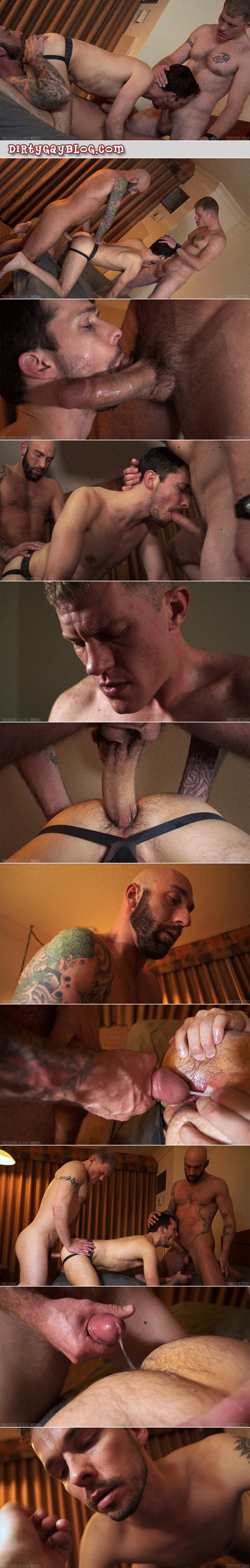 Young scruffy guy in a jockstrap is spit-roasted by two mature men and takes both their loads.