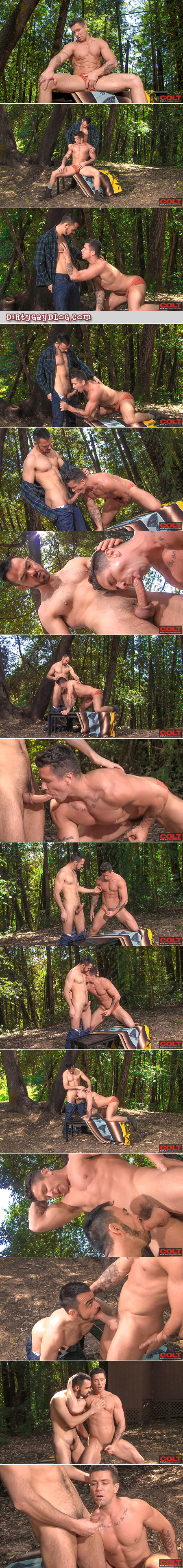 Two muscular men in the woods suck each other's cocks and shoot huge loads of semen.