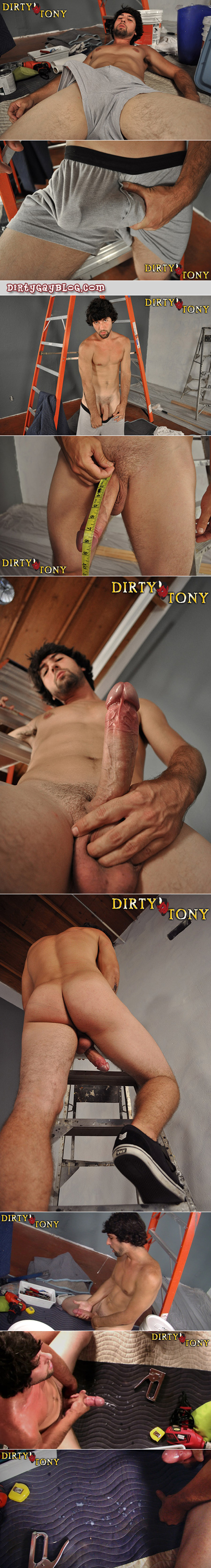 Well-hung Brazilian jacks off and shoots his load on his mechanic's toolbox.