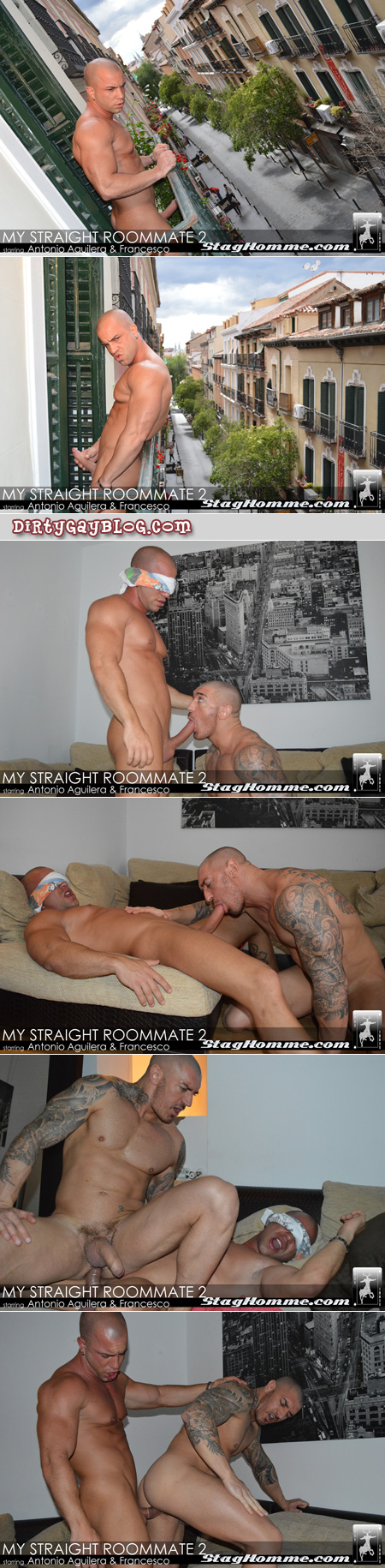 Muscular tattooed man sucks off and gets fucked by his hung, straight roommate