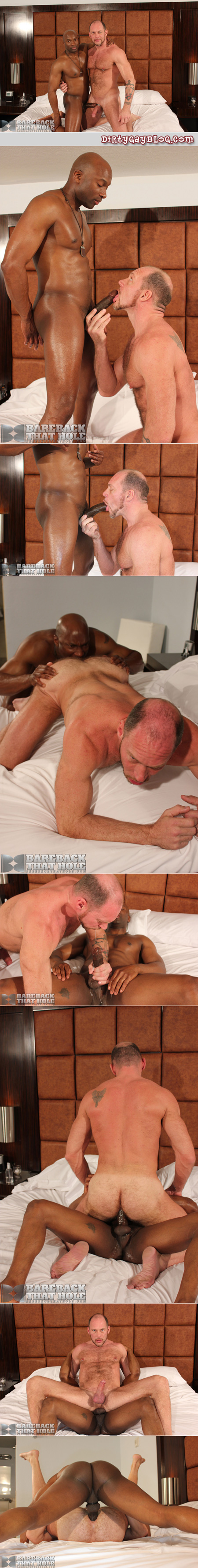 Black stud fucks an extremely hairy older man in his ass raw after rimming him.