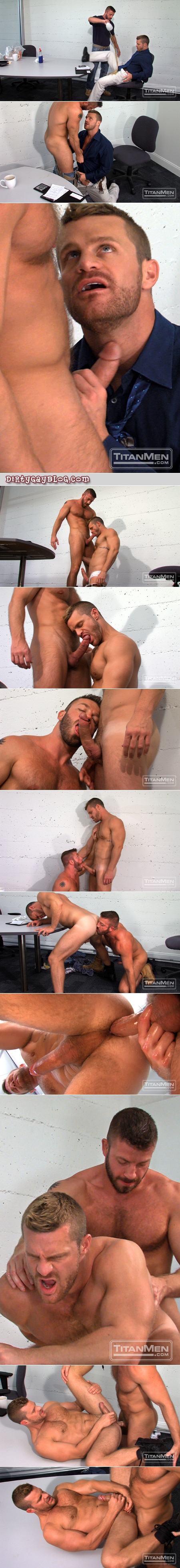 Beefy hairy office worker pours coffee on his boss' crotch to get him naked and ready to be fucked.