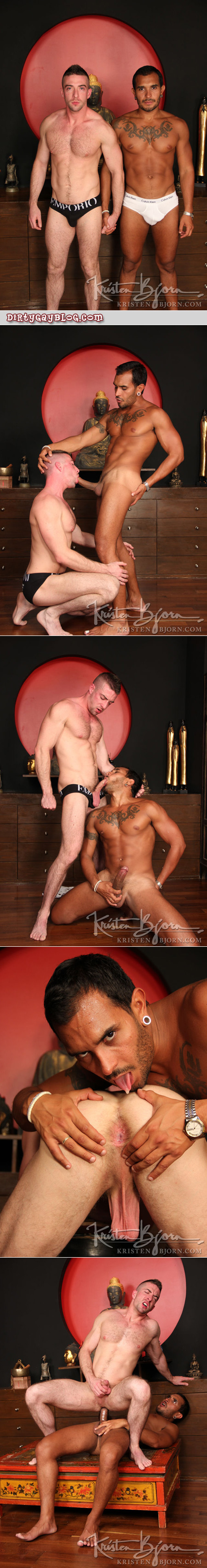 Hung tattooed and pierced stud fucks a hairy white guy.  Both of them are wearing briefs.
