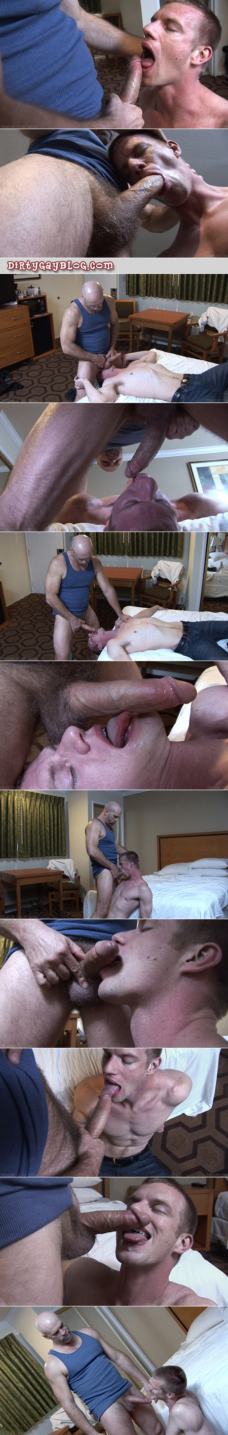 Hairy older man feeds his cock and cum to a younger cock-worshipper.