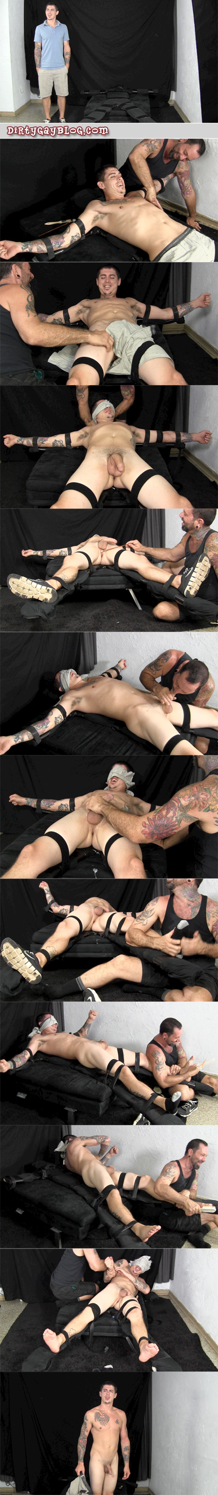 Inked straight guy who likes to fight is put into bondage, tickled and milked of his cum.