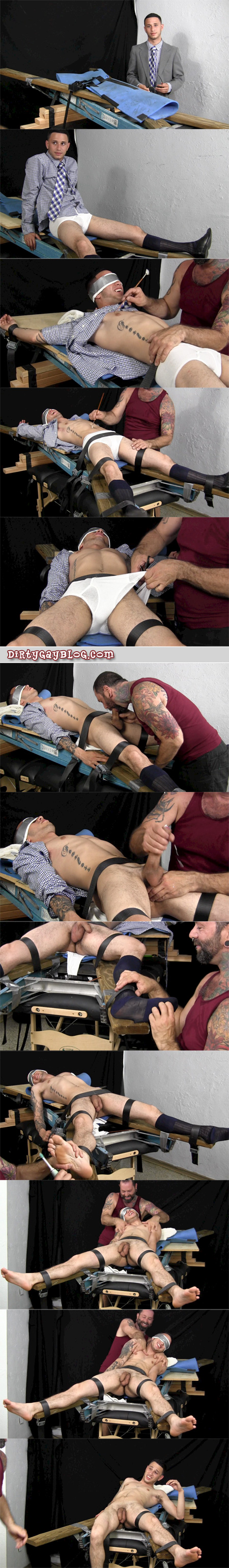 Straight guy with an extra-large penis is bound, milked and tickled.