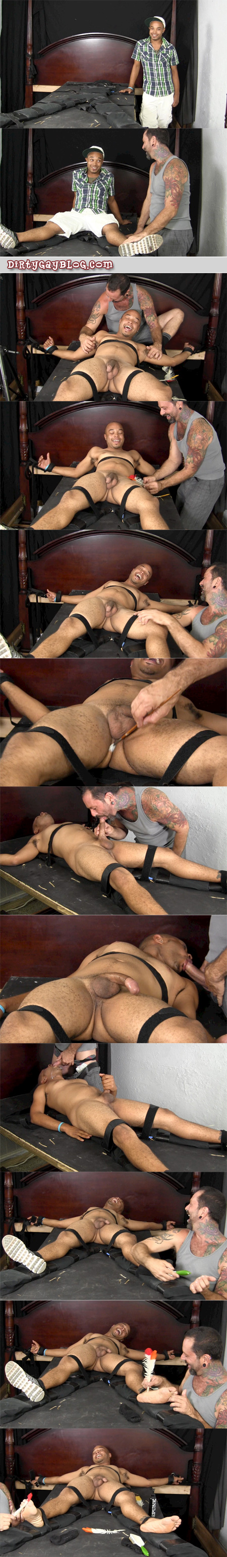 Handsome young black and Native American guy enjoys being tied up and tickled and receiving cum in his face.