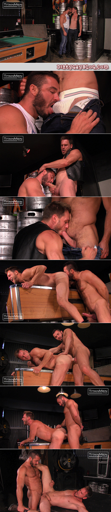 Beefy blonde guy with a beard and old-fashioned jockstrap gets fucked on a pool table in a leather bar.
