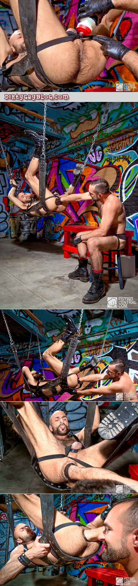 Pierced fisting pig gets fisted in a leather sling by a muscular bearded man.