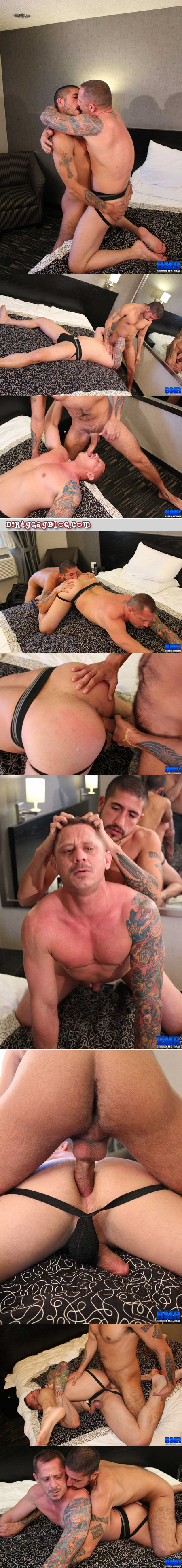 Uncut Latino fucks a mustachioed and heavily tattooed Daddy bareback.