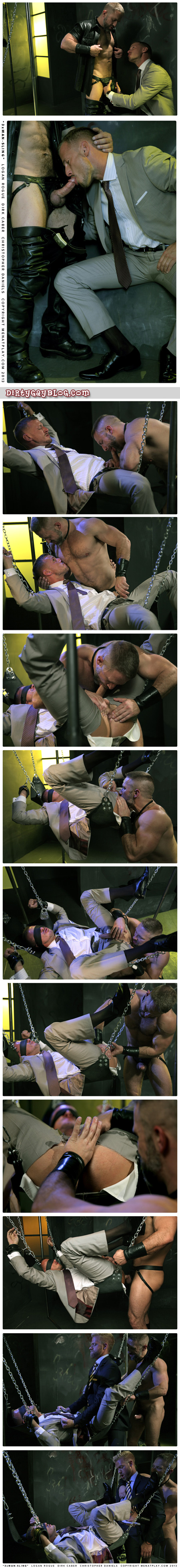 A scruffy businessman gets fucked by a leatherman and a guy in a suit and tie in a leather sling at a gay sex club.