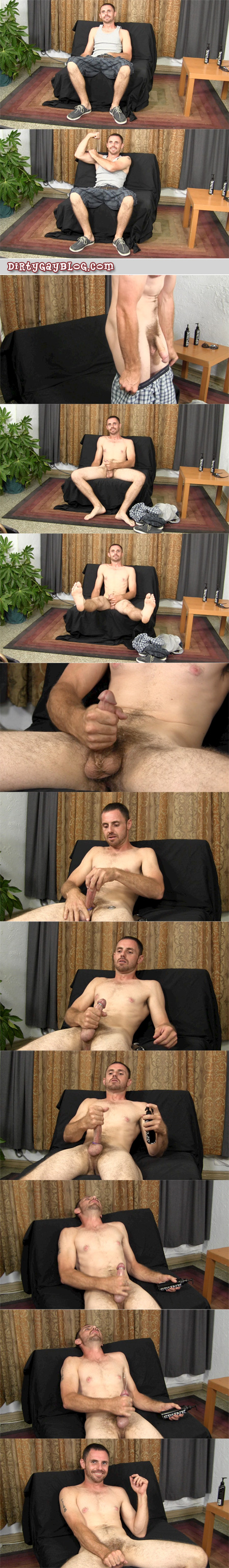Scruffy straight guy jerking his swollen purple dick with a cockring and glans ring on.