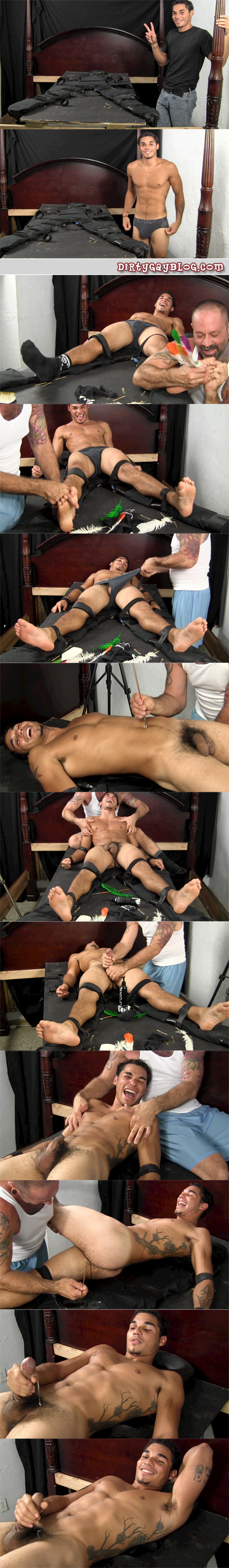 Sweet young Asian and Latino mixed race guy is bound and tickled mercilessly.
