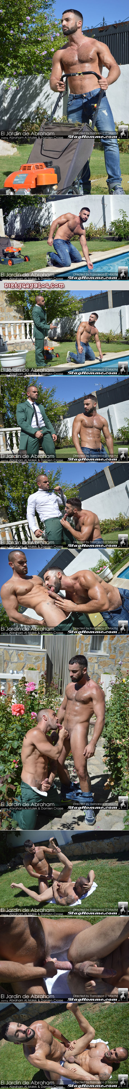 Male property owner takes advantage of his hunky shirtless gardener.