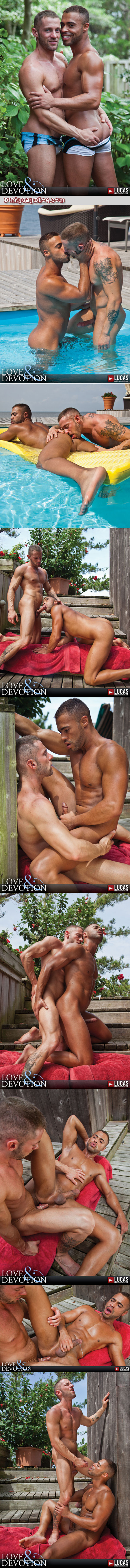 Slim, muscular guy fucks a black man by the pool and gives him a cum facial.