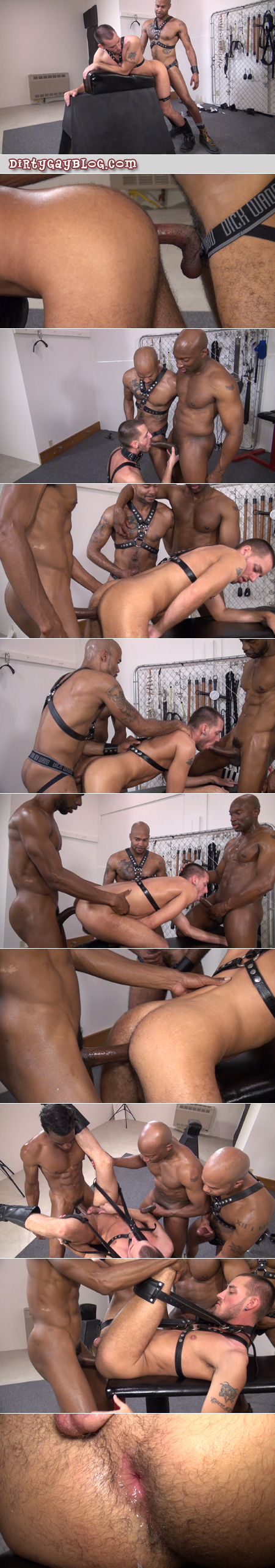 Three well-hung black men take turns fucking a horny white leather otter bareback and cumming inside him.