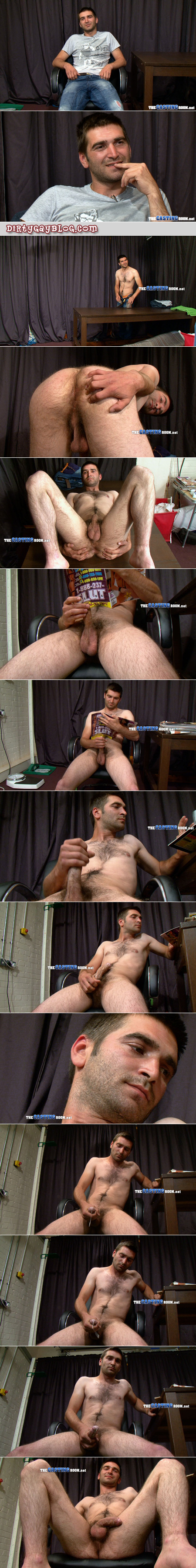 Hairy straight guy is caught on camera masturbating to a porno magazine.