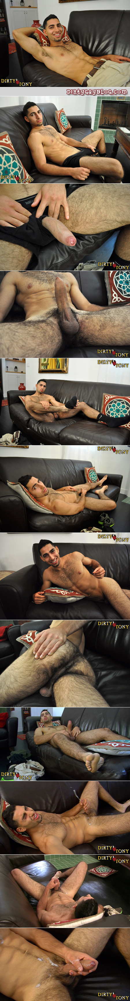 Young Arab guy jacks a big load of white cum all over his ripped hairy abs.