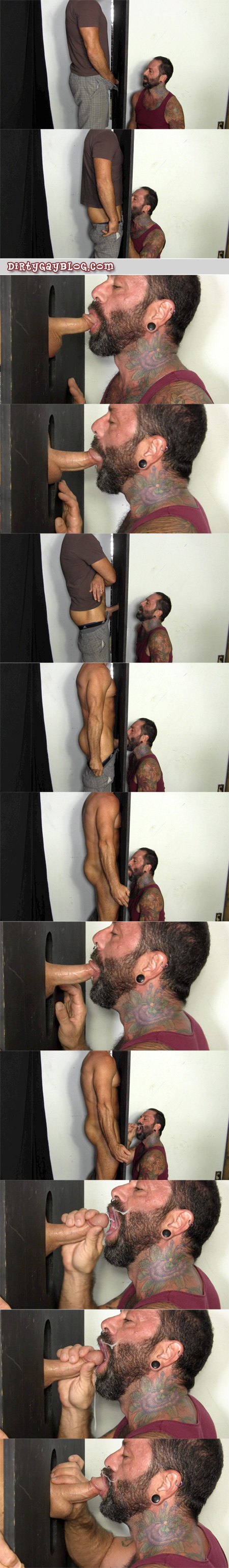 Muscular married man gets blown to completion and has a huge loud cumshot at an anonymous gloryhole.