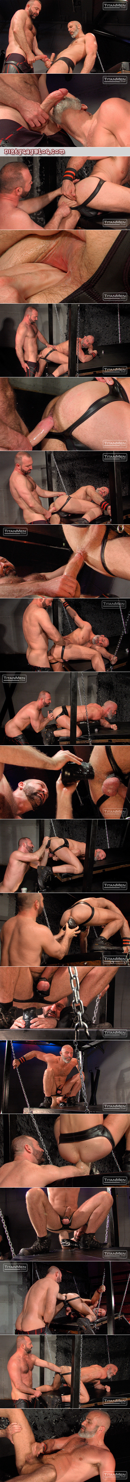 Bald, bearded leather Daddy stretches his asshole with huge dildos and another man's fist.