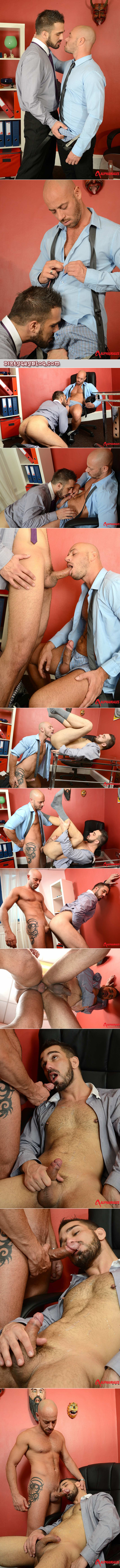 Bald male boss dominates his male employee and makes him have gay suit sex with him.
