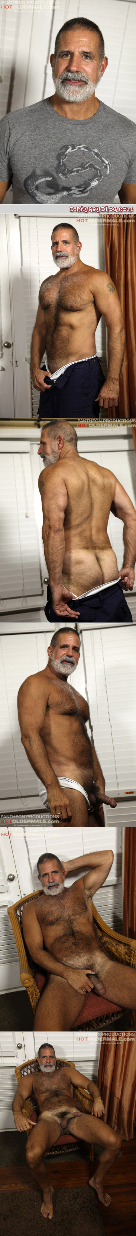 Hairy, beefy Daddy with tan lines jerks off for other guys to watch.
