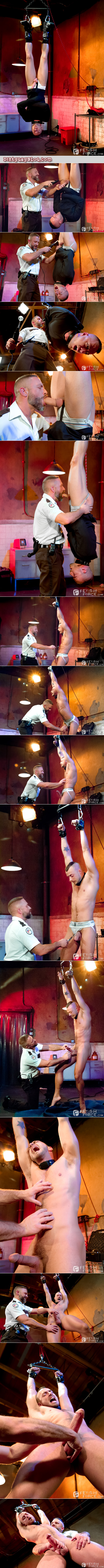 Bearded guard edges his male detainee with tickle torture and electro-genital stimulation.
