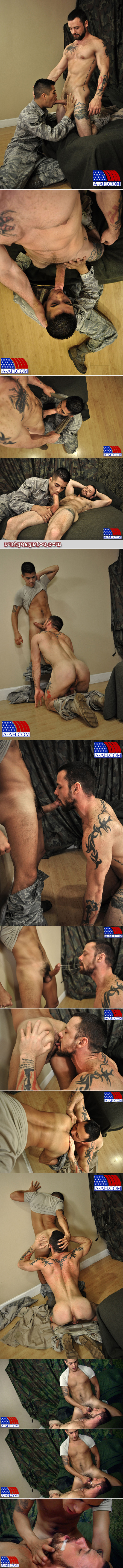 Bearded, muscular military guy trains a young recruit in sucking cock and giving cum facials.