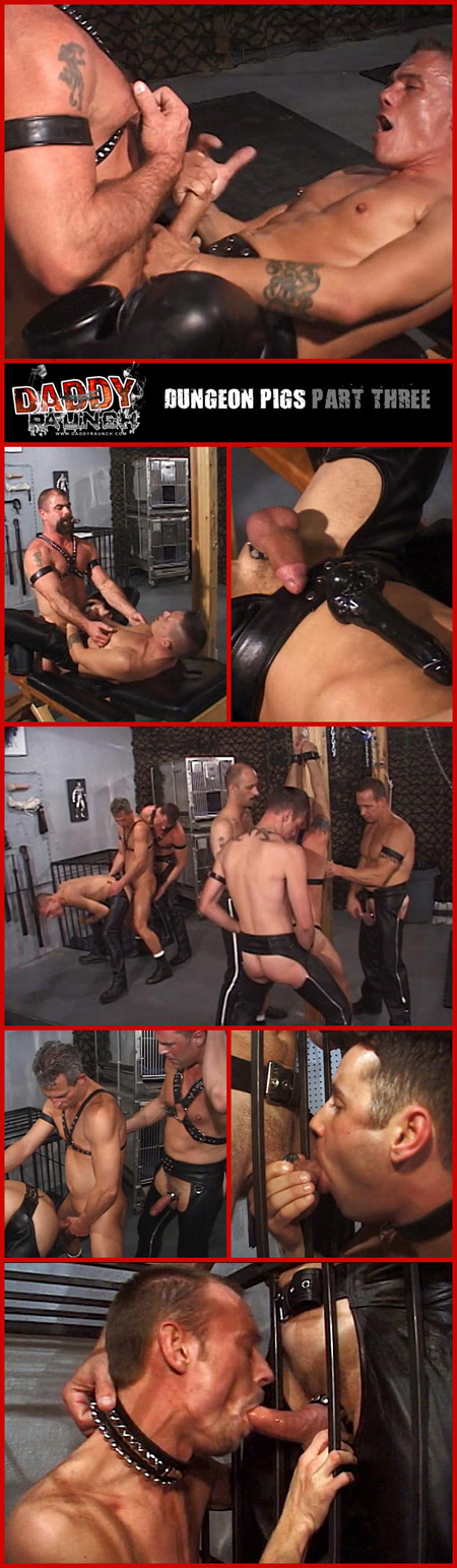 A large group of horny leathermen have raunchy bareback group sex together.