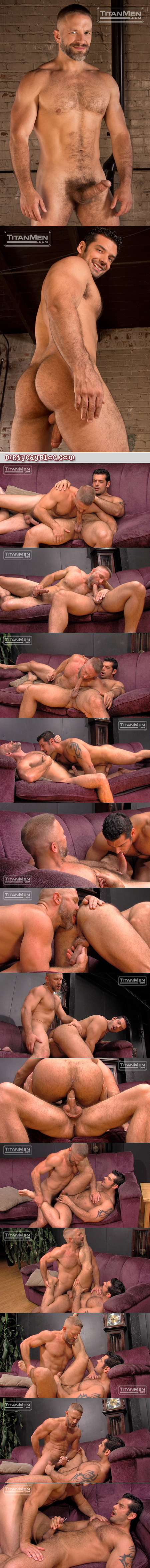 Extremely muscular, hairy Daddy fucks an uncut Latino bottom and shoots a huge load.