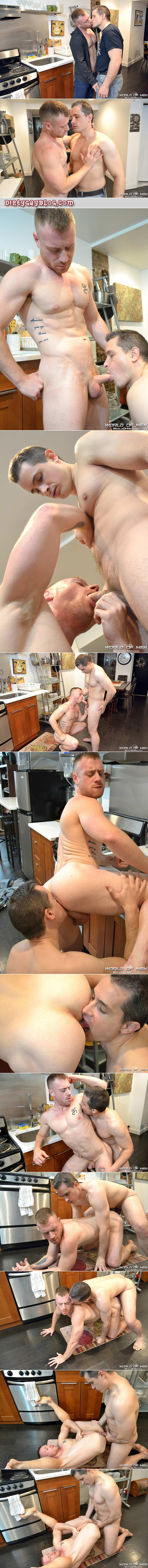 Clean cut guy fucks a horny ginger muscle stud on the kitchen floor.