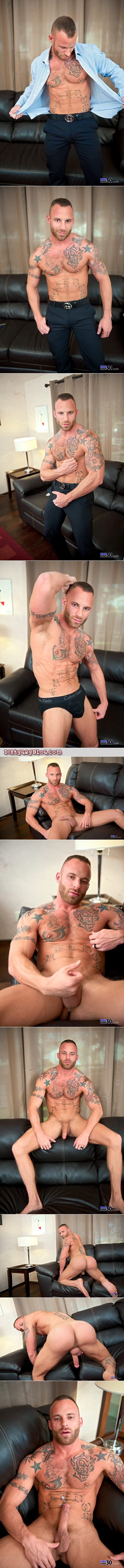 Heavily tattooed hairy muscle stud jacking off on the couch.