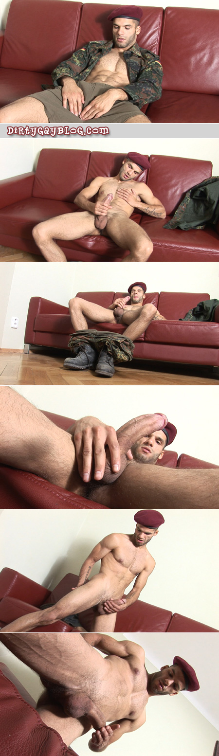 Young, muscular Czech soldier drops his boxers around his ankles and masturbates on the couch.
