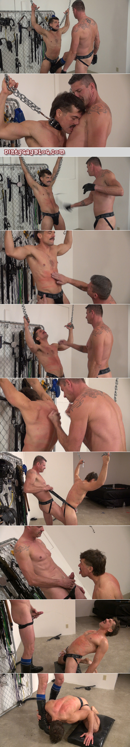 Leather boy loves getting gay BDSM from his dominant Sir.