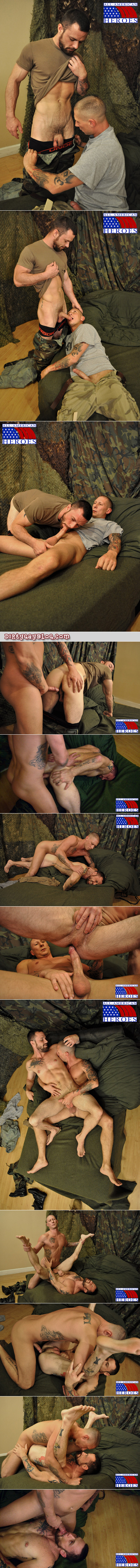 Bearded, veiny sergeant gets fucked in the ass by a private first class with a big dick