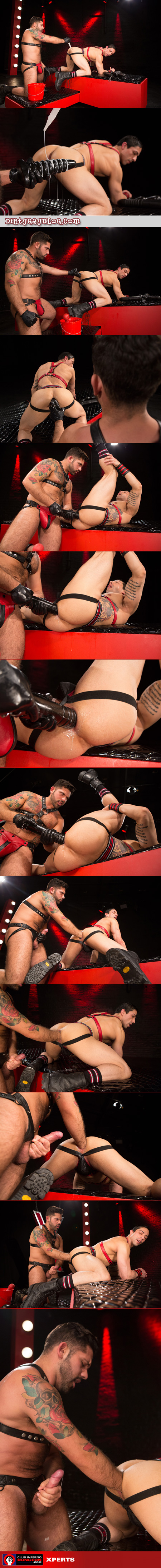 Hairy Latino in leather fists a man's ass and uses giant dildos on him.