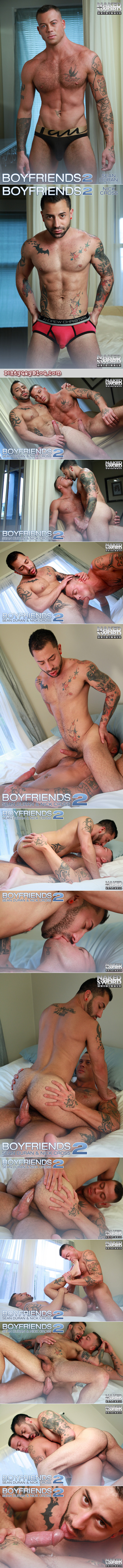 Heavily tattooed boyfriends flip-fuck and give each other cum facials.