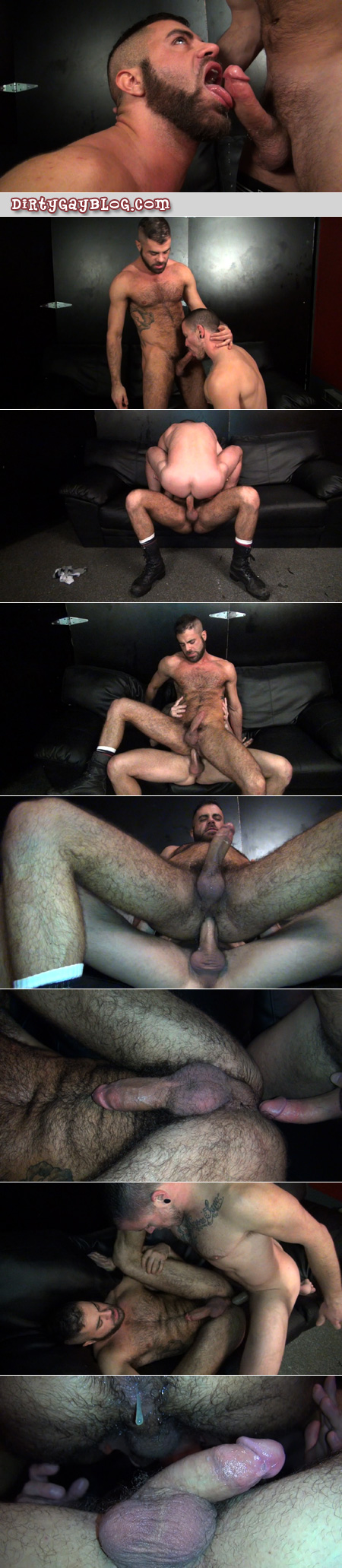 Hairy tattooed guys flip-fuck bareback and fill up each other's assholes with cum.