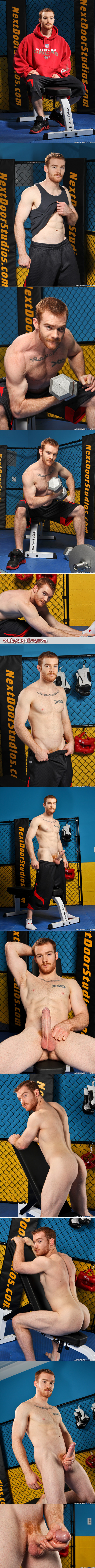 Ripped, muscular redhead in athletic gear masturbating after his workout.
