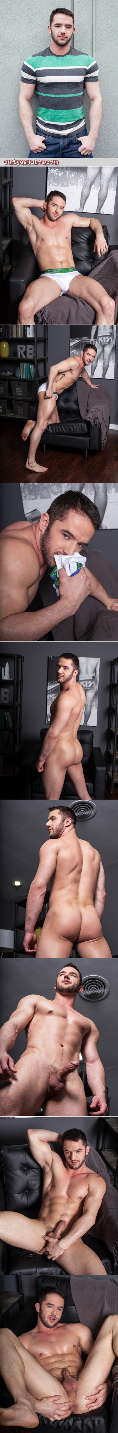 Young muscle guy with a beard sniffs his sweaty briefs and fingers his tight, hairy butthole.