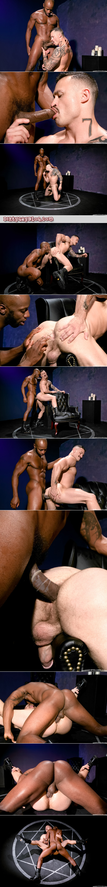 Black on white interracial gay muscle sex.