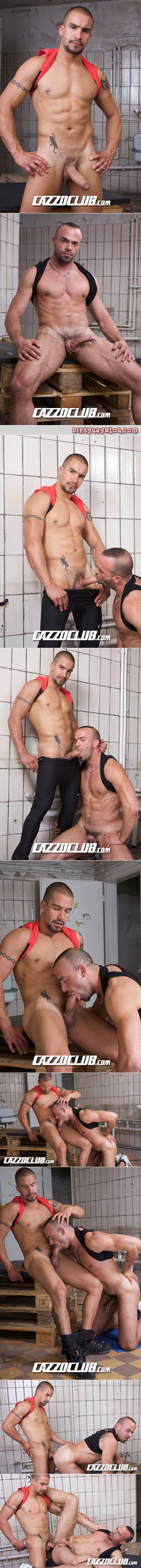 Muscular Spanish male cyclists sneak off to a garage for gay sex with each other.
