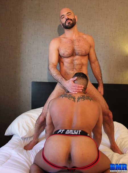 Hairy, muscular Daddy being blown by a stocky Latino with a big ass in a boxerjock.