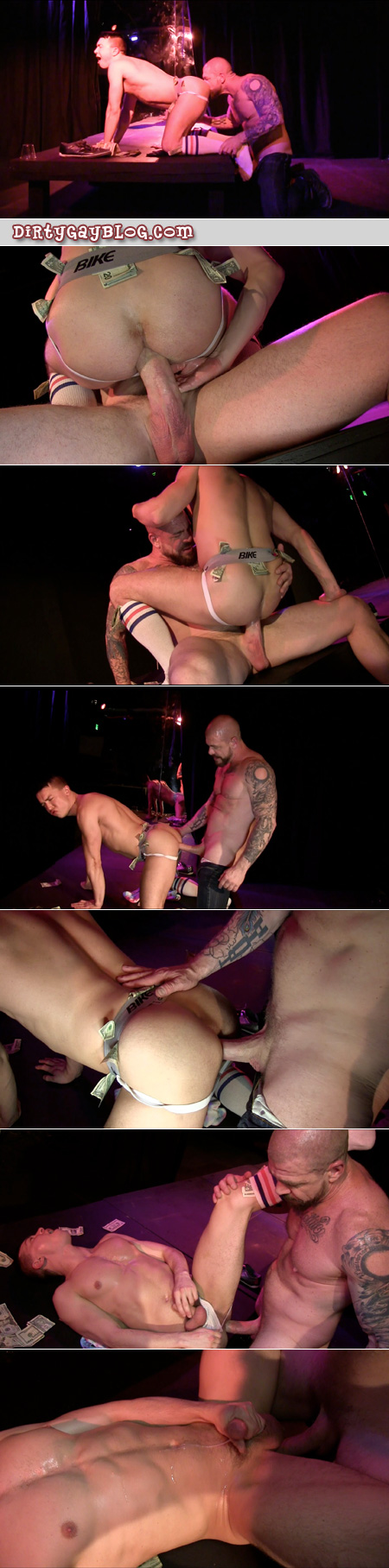 Bald muscle Daddy fucking a stripper in a jockstrap and OTC athletic socks bareback.